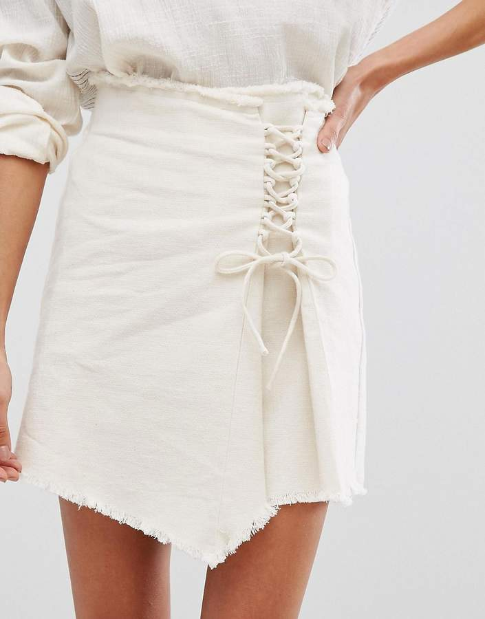MANGO Frayed Hem Lace Up Skirt
