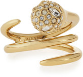 Alexis Bittar Crystal-Encrusted Sphere Coil Ring, Size 7