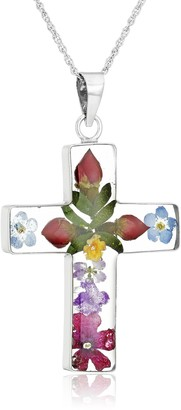 """Amazon Collection Sterling Silver Pressed Flower Multi-Colored Cross Pendant Necklace 18"""""""