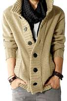 LANROON Men's Winter Warm Shawl Collar Knitted Cardigan Sweater, L