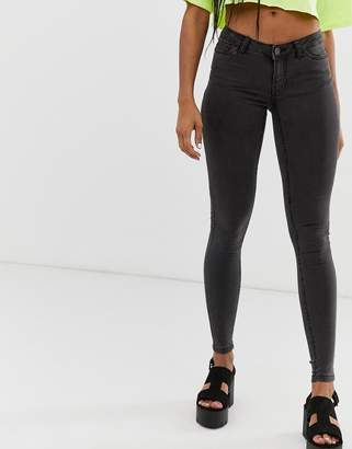 Noisy May low rise skinny jeans-Grey