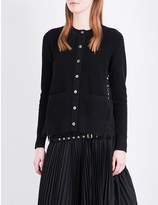 Sacai Floral-lace knitted cardigan