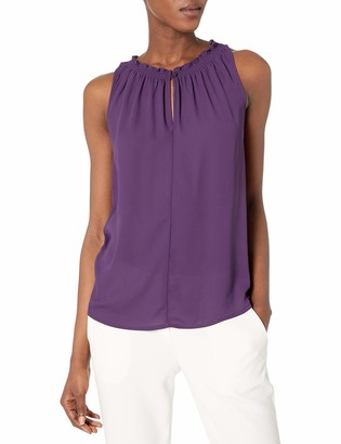 James & Erin Women's Ruffle Neck Sleeveless Top