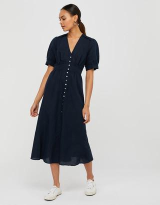 Monsoon Midi Tea Dress in Linen Blend Blue