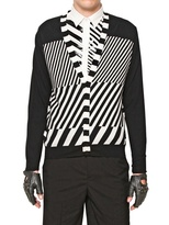 Karl Lagerfeld Cotton Blend Tricot Geometric Cardigan