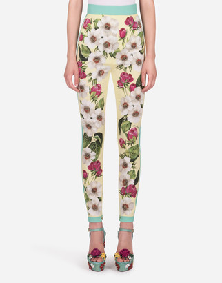 Dolce & Gabbana High-Waisted Leggings In Charmeuse With Small Rose Print