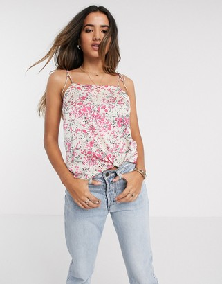 Vero Moda cami top with square neck in pink floral