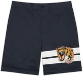 Gucci Navy Tiger-embroidered Cotton Shorts