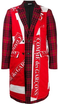Comme des Garcons Check-Panel Single-Breasted Coat