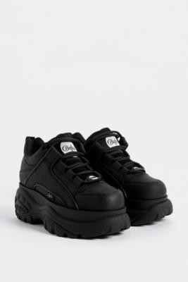 Buffalo David Bitton Black Leather Chunky Platform Trainers - Black UK 4 at Urban Outfitters