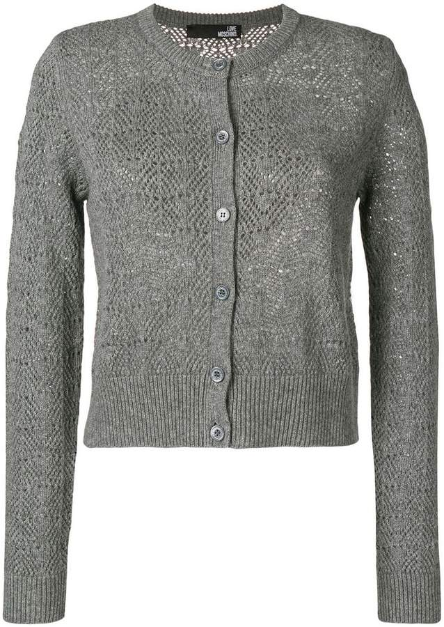 Love Moschino cropped heart patch cardigan