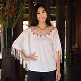 Women's Cotton Blouse, 'Exotic White Butterfly'