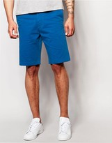 Edwin Chino Shorts Rail Tapered Stretch Sateen Royal Blue Overdyed
