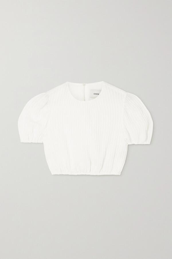 Erdem Romi Cropped Seersucker Top - White
