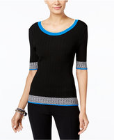 INC International Concepts Marled-Trim Sweater, Only at Macy's