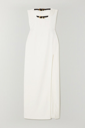 Versace Strapless Embellished Buckled Silk-cady Gown - White