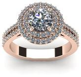 Ice 1 1/2 CT TW Diamond 14K Rose Gold Vintage Inspired Dual Halo Engagement Ring