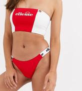 Ellesse Exclusive high leg bikini bottom in red