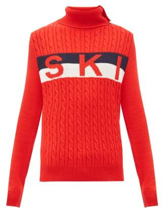 Perfect Moment Ski-jacquard Cable-knit Wool Sweater - Womens - Red