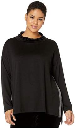Eileen Fisher Plus Size Stretch Tencel Terry Funnel Neck Top (Black) Women's Clothing