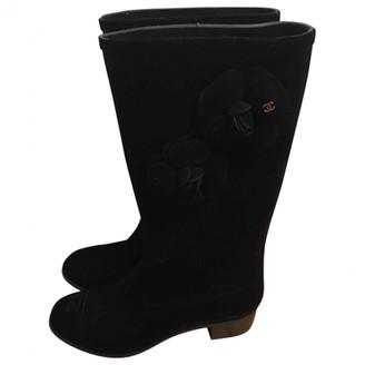 Chanel Black Velvet Boots