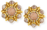 Jose & Maria Barrera Cabochon Beaded Button Clip Earrings, Beige/Golden