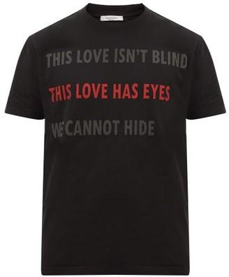 Valentino On Love-print Cotton-jersey T-shirt - Mens - Black