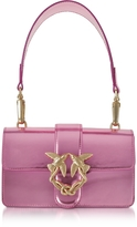 Pinko Mini Love Stars Azalea Pink Laminated Leather Shoulder Bag