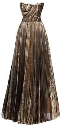 Oscar de la Renta Metallic Plisse Floral Applique Strapless A-Line Ball Gown