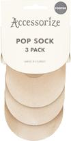Accessorize 3 Pack Sheer Footsie Pop Socks