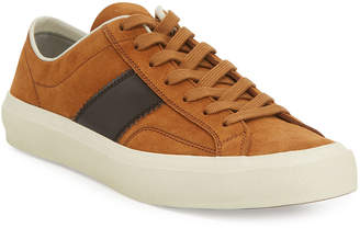 Tom Ford Men's Cambridge Suede Striped Low-Top Sneakers