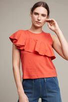 Anthropologie Ruffled Asymmetry Shell
