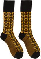 Prada Black and Yellow Geometric Socks