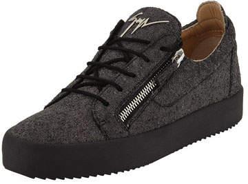 Giuseppe Zanotti Men's Glitter Double-Zip Low-Top Sneakers