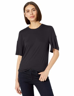 Lark & Ro 1-by1 Rayon Span Flutter Sleeve Top Shirt