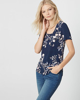 Le Château Floral Print Jersey Scoop Neck Tee
