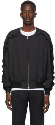 Random Identities Black Ruffle Sleeve Bomber Jacket