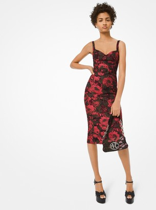 Michael Kors Floral Jacquard Belted Sheath Dress