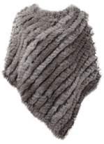 VamJump Women Winter Real Fur Pullover Poncho Cape Shawl Scarves Coat Black