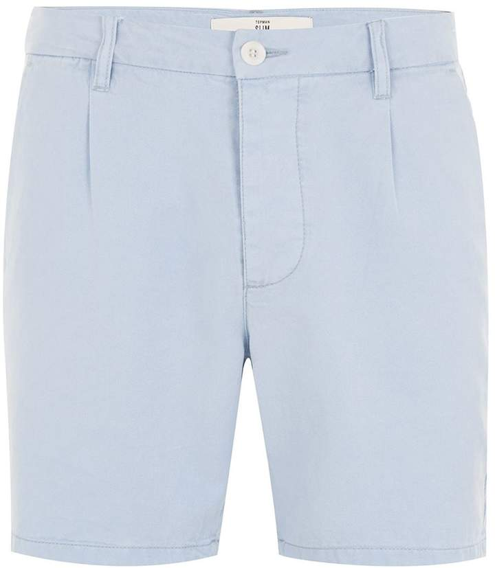 Topman Light Blue Tencel Slim Shorts