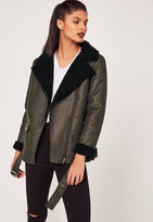 Missguided Khaki Faux Suede Shearling Lined Aviator Biker Jacket
