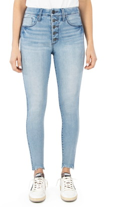 Whetherly Cooper High Waist Raw Hem Button Fly Skinny Jeans