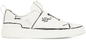 Balmain B Court Leather Handwriting Sneakers