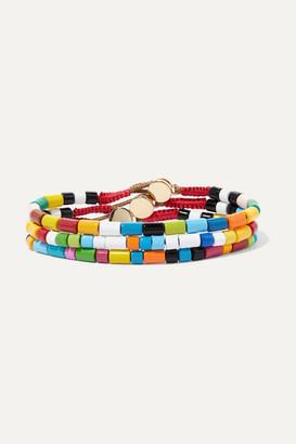 Roxanne Assoulin Rainbow Set Of Three Enamel And Gold-tone Bracelets - Red