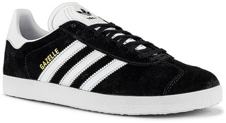 adidas Gazelle Foundation Sneaker in Black & White & Gold Metallic | FWRD