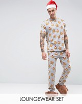 Asos Holidays Pajama Set With Turkey Print