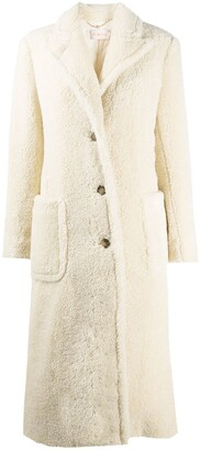 Tory Burch Faux-Shearling Single-Breasted Coat
