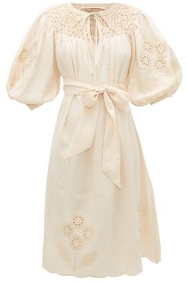 Innika Choo Hugh Jesmock Embroidered Linen-poplin Midi Dress - Womens - Light Yellow