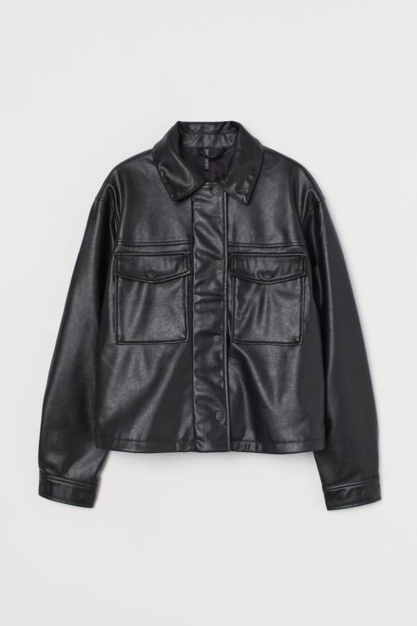 H&M Crop Faux Leather Jacket - Black