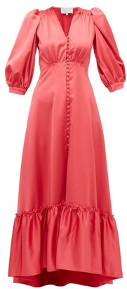 Luisa Beccaria V-neck Puff-sleeved Gathered Satin Dress - Womens - Dark Pink